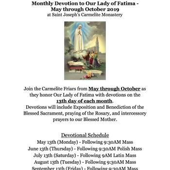 Monthly Devotion to Our Lady of Fatima from May until October