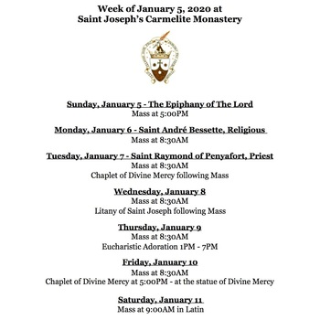Monastery Schedule for the week of January 5, 2020