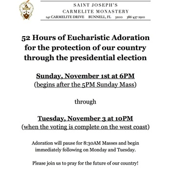 Eucharistic Adoration for the protection of America during the Presidential Election