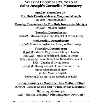 Weekly Schedule at our monastery for December 27, 2020