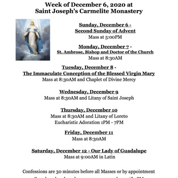 Monastery Schedule for the week of December 6, 2020