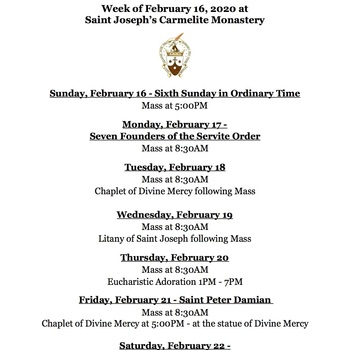 Schedule for the Week of February 16, 2020