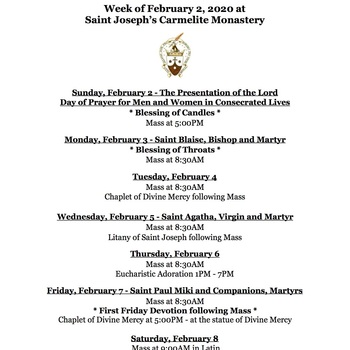 Schedule for the Week of February 2, 2020
