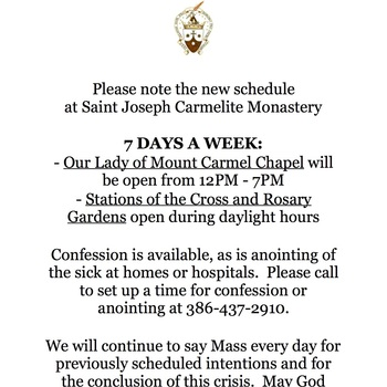3/21/20 Schedule Remdinder for our Monastery
