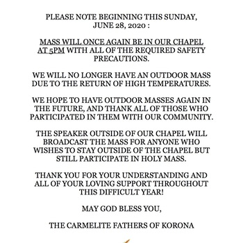 Sunday Mass Returns to our chapel at 5pm beginng 6/28/20