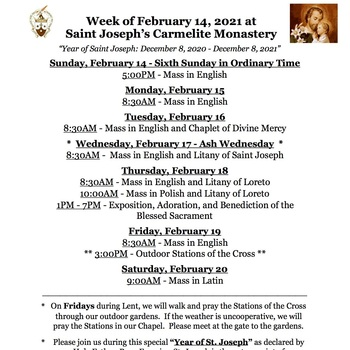 Schedule for the week of February 14th - Ash Wednesday and Stations of the Cross begin