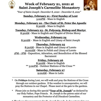 Schedule for the week of February 21st - Father Joseph has returned home