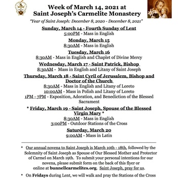 Schedule for the week of March 14th - Novena, Saint Patrick's Day, and Solemnity of Saint Joseph