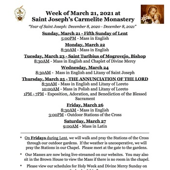Schedule for the week of March 22nd and Holy Week 2021