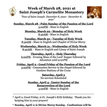 Holy Week Schedule 2021