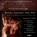 Sept. 24, 7 p.m. - Solemn High Mass for the Remission of Sins