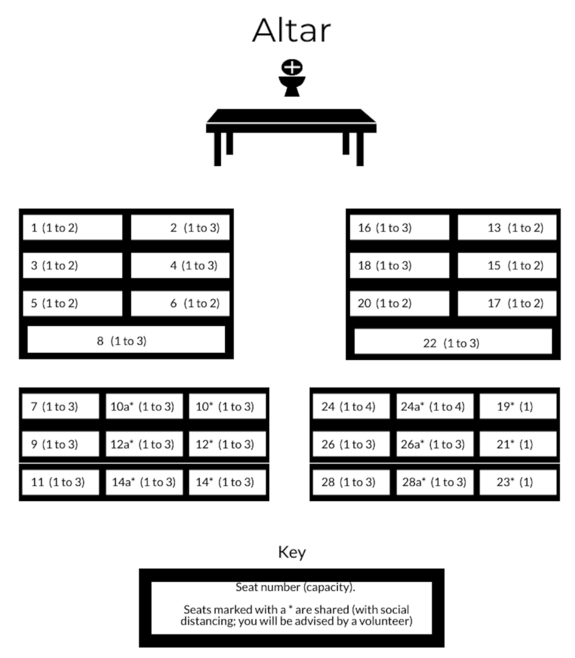 CHAPEL SEATING PLAN AND ROW CAPACITY