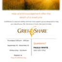 August 28: GriefShare Begins on September 10, 2020