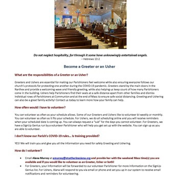 December 2: Ushers and Greeter still needed for weekend and Christmas Masses
