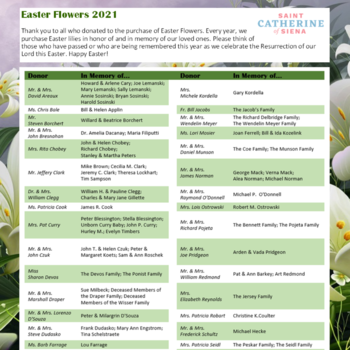 April 4: Donations for Easter Flowers