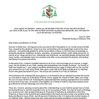 June 27:  Bishop Bradley Releases Letter to the Faithful on the Eucharist