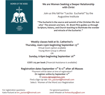 September 9: Sign Up for Fall Women of the Word Session is This Weekend in the Narthex!