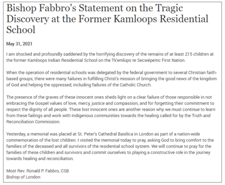 Bishop Fabbro's Statement on the Tragic Discovery at the Former Kamloops Residential School