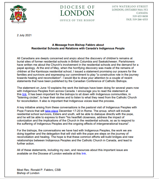 A Message from Bishop Fabbro about Residential Schools and Relations with Canada's Indigenous People