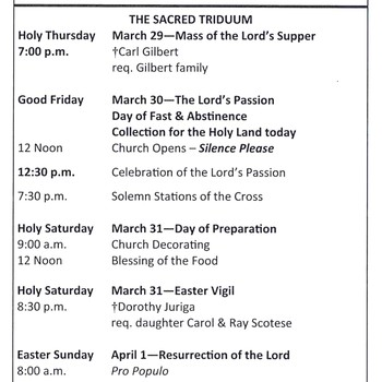 Don't Miss the Triduum, Starting Thursday, March 29th