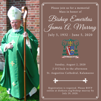Registration for the Memorial Mass in honor of Bishop Emeritus James A. Murray is now open