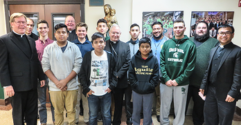 Young men gather with Bishop to hear insights about discerning vocations