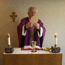 Father Swearny Offers Private Daily Mass in Parish Office Chapel