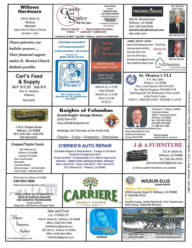 Thank you to our bulletin sponsors!