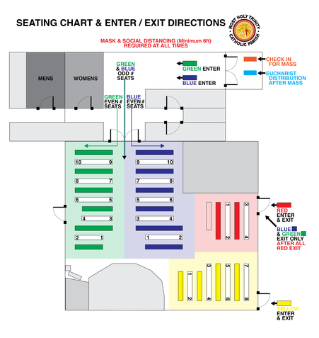 Church seating / enter / exit directions