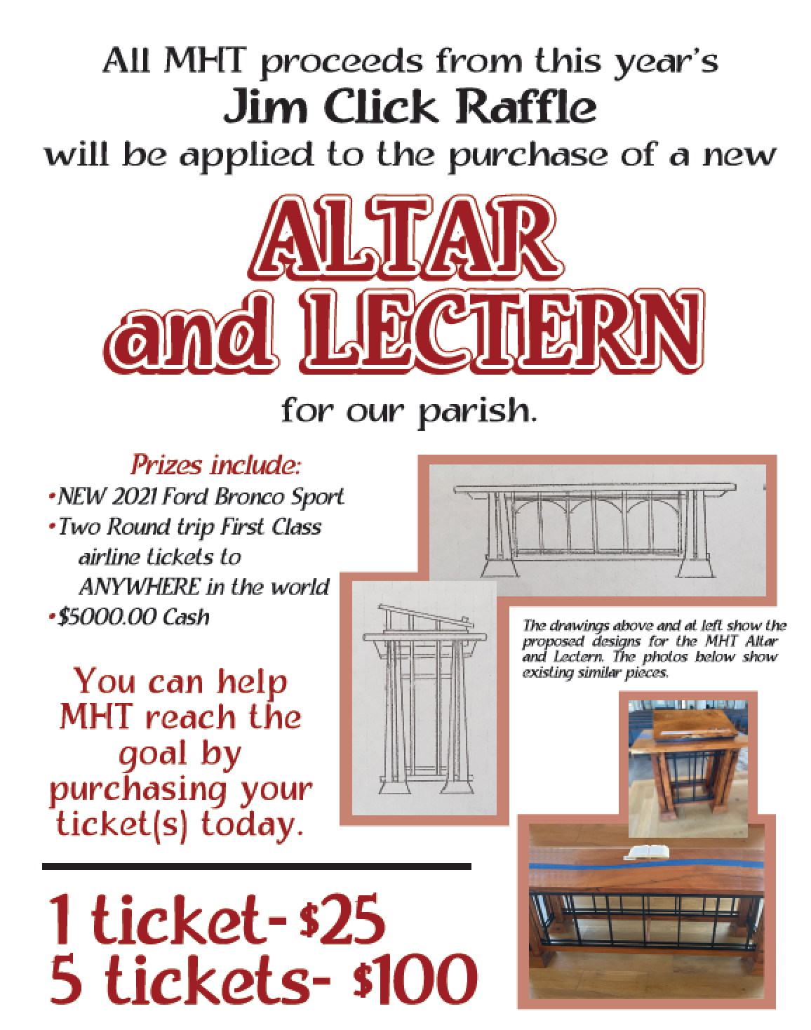 Altar and Lectern and Jim Click Flyer