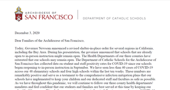 Letter to Families of the Archdiocese of San Francisco