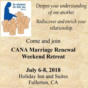 CANA Marriage Renewal July 6-8 2018