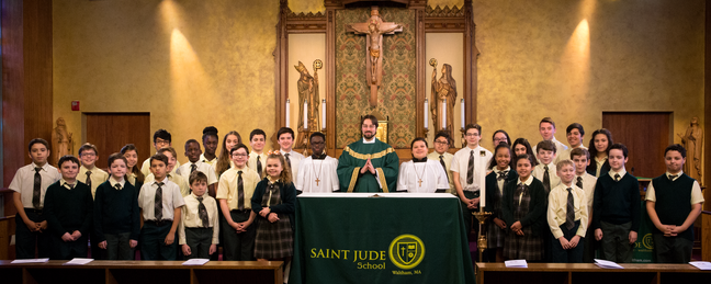 Fr. Adrian with students at the Catholic TV Chapel