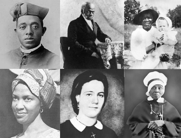 (Top row, left to right) Venerable Augustus Tolton, Venerable Pierre Toussaint, Servant of God Julia Greeley (Bottom row, left to right) Servant of God Thea Bowman, Venerable Henriette DeLille, Servant of God M. Elizabeth Lange