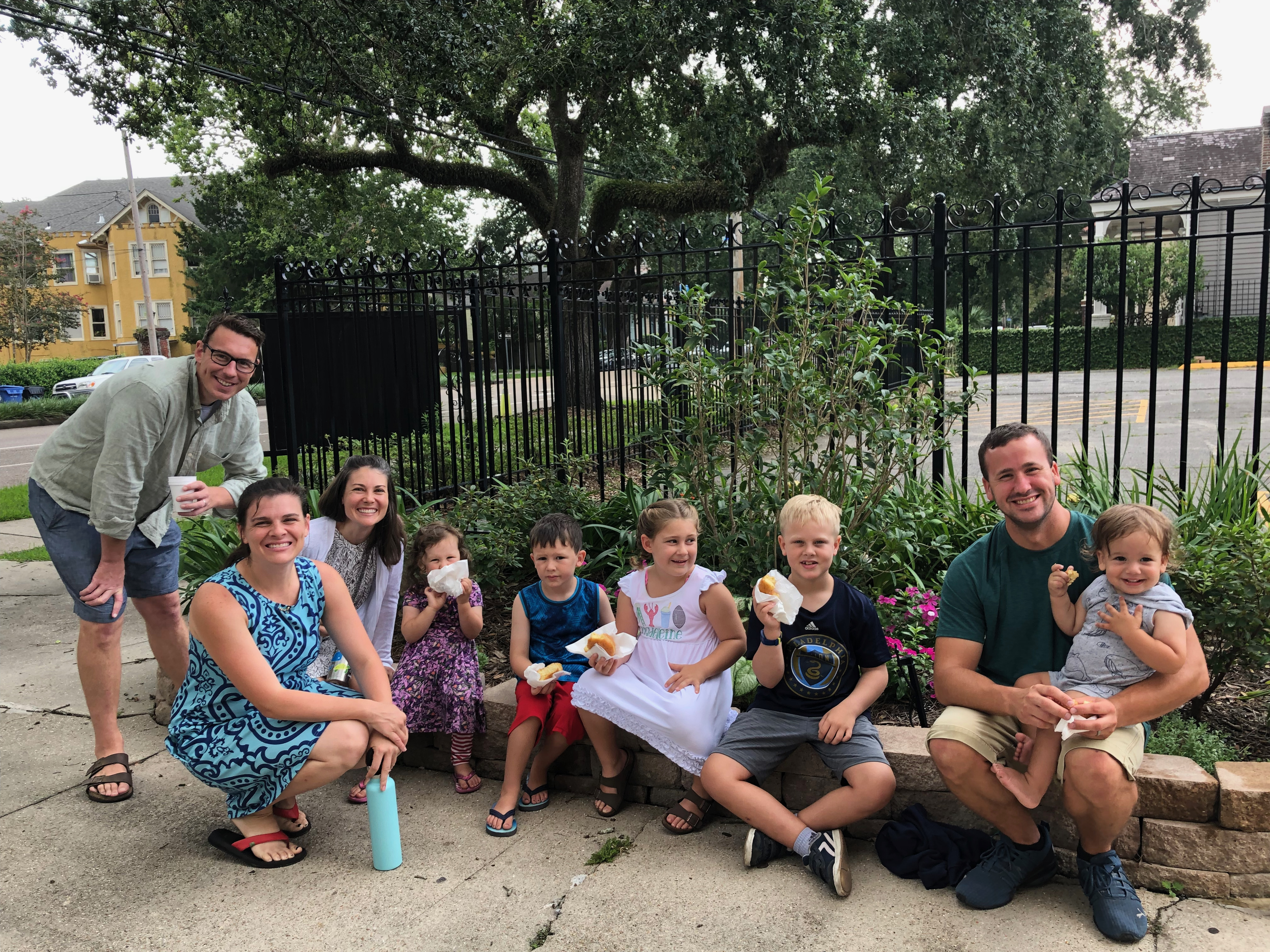 A picture of some of our families enjoying coffee and donuts after 9:00am Mass.