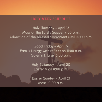 Holy Week Schedule 2019