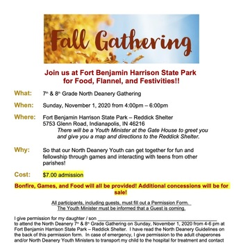North Deanery Fall 7th & 8th Grade Gathering