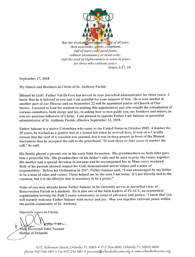 Letter from Bishop Noonan - St  Anthony Catholic Church