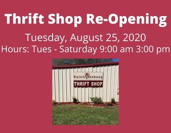 Thrift Shop Re-Opening