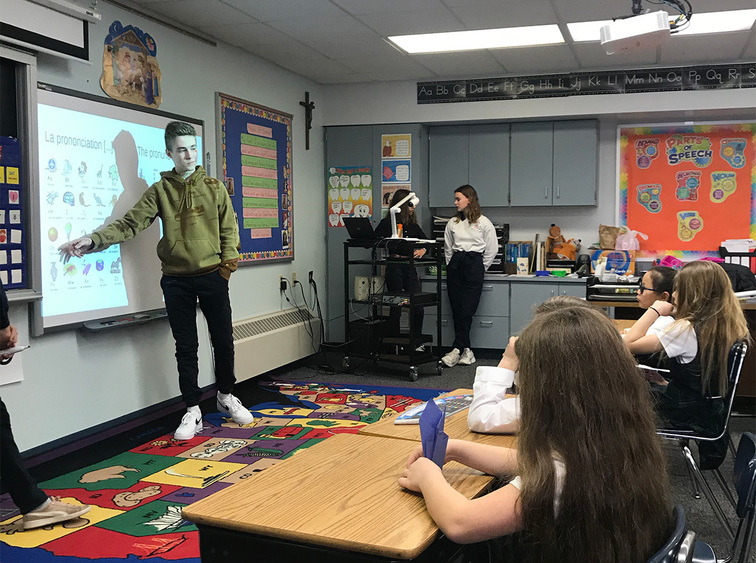 As part of this winter's cultural exchange program, visiting French students taught LMC elementary school students the alphabet, numbers and vocabulary in French.