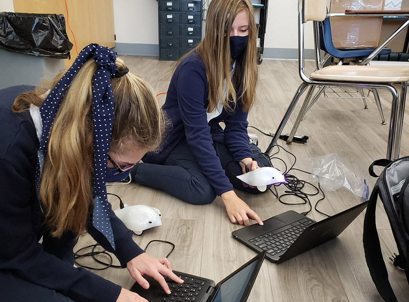 Two students working with Finch robots.
