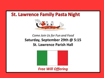 Family Pasta Night- After 4pm Mass