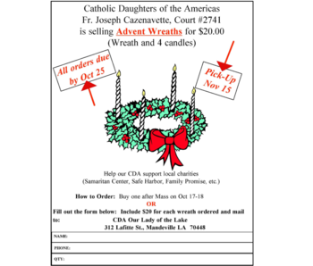 CDA Advent Wreath Sale
