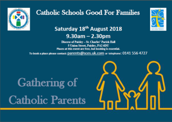 CATHOLIC SCHOOLS GOOD FOR FAMILIES – SATURDAY 18TH AUGUST