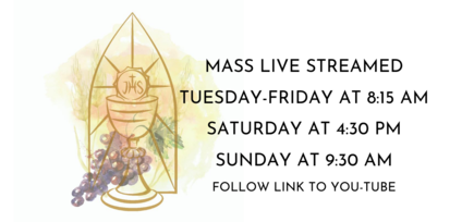 Live stream mass scheuld, Tuesday thru Friday at 8:15 AM, Saturday 4:30 PM, Sunday at 9:30, click link to go to St. Mark YouTube channel