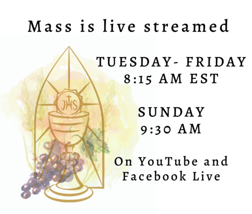 Mass is live streamed Tuesday-Friday at 8:15 and Sunday at 9:30 AM on YouTube and Facebook Live