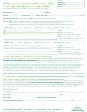 Delta College TIP form