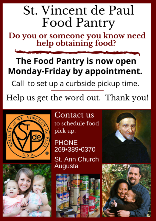 St Ann Catholic Church Parish Richland Michigan Augusta Gull Lake Light of Christ Academy Private School Battle Creek Food Pantry St. Vincent de Paul