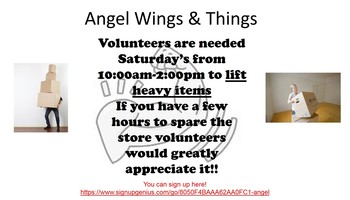 Saturday Help in Angel Wings and Things Thrift Store
