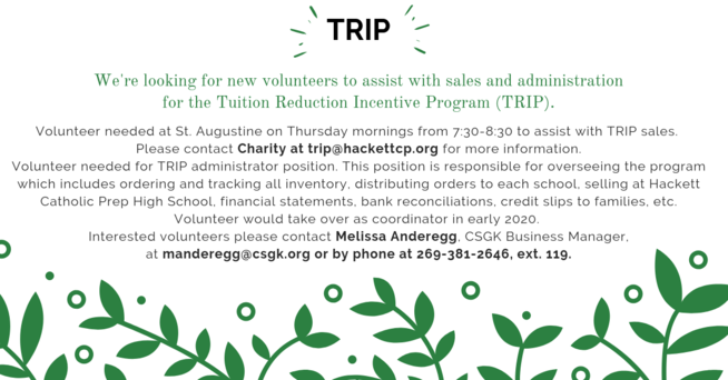 TRIP Volunteer information. Contact Melissa Anderegg for details.